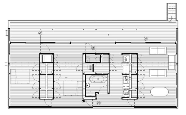 Adjustable floor layout - Convert from one to three bedrooms + office by using series of hidden hinged doors.